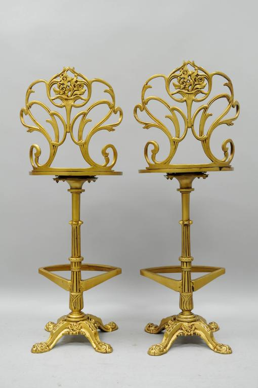 Set 4 Gold Hollywood Regency Art Nouveau Cast Aluminum Floral Swivel Bar Stools 3