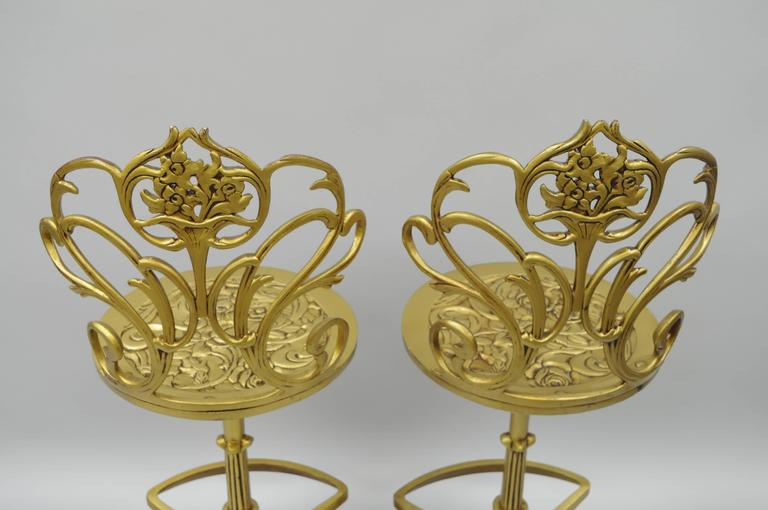 Set 4 Gold Hollywood Regency Art Nouveau Cast Aluminum Floral Swivel Bar Stools 4