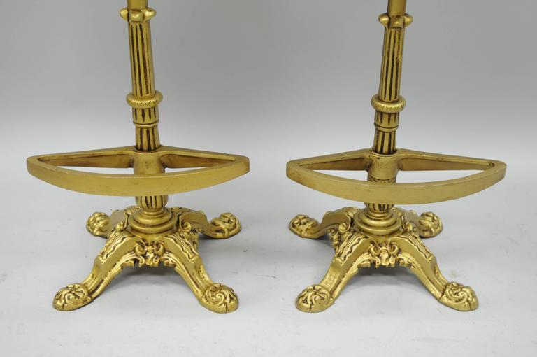 20th Century Set 4 Gold Hollywood Regency Art Nouveau Cast Aluminum Floral Swivel Bar Stools