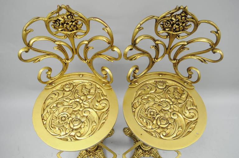 Set 4 Gold Hollywood Regency Art Nouveau Cast Aluminum Floral Swivel Bar Stools 1