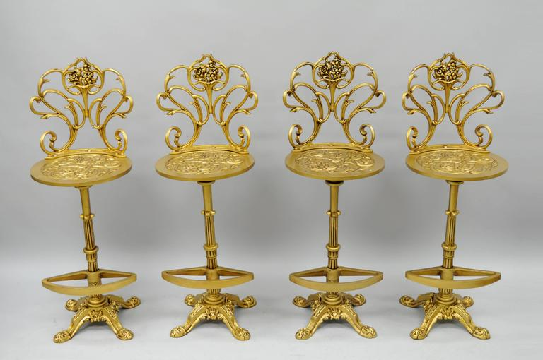 Set 4 Gold Hollywood Regency Art Nouveau Cast Aluminum Floral Swivel Bar Stools 5