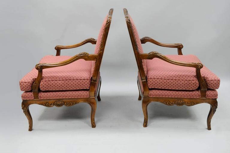 Pair of Country French Louis XV Style Carved Bergere Armchairs by Century 8