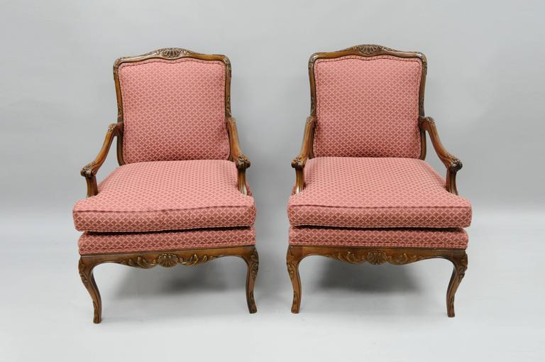 Pair of Country French Louis XV Style Carved Bergere Armchairs by Century 3