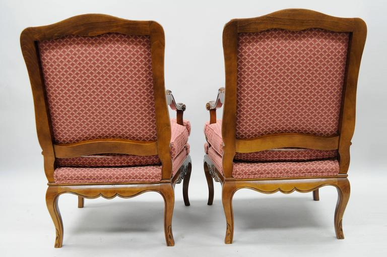 Pair of Country French Louis XV Shell Carved Century Bergere Lounge Arm Chairs For Sale 3