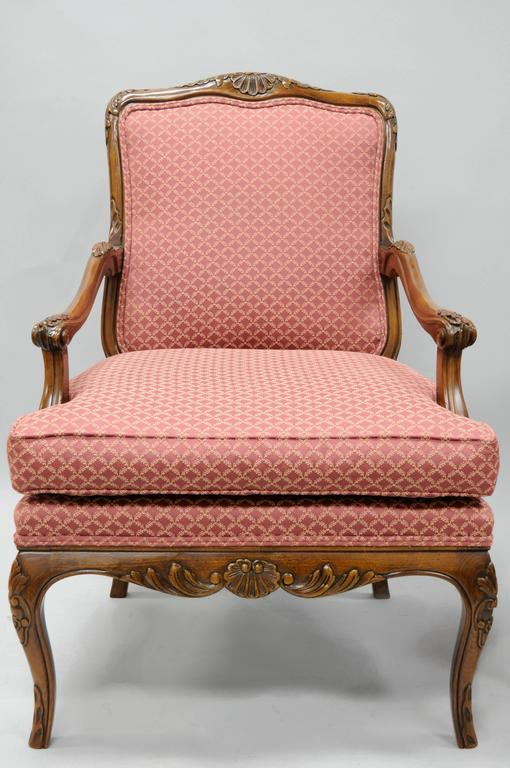 Pair of Country French Louis XV Style Carved Bergere Armchairs by Century 10