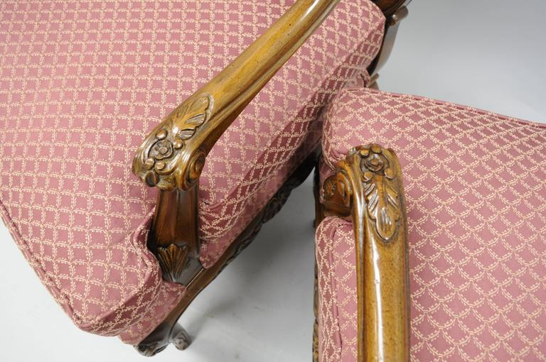 Upholstery Pair of Country French Louis XV Shell Carved Century Bergere Lounge Arm Chairs For Sale