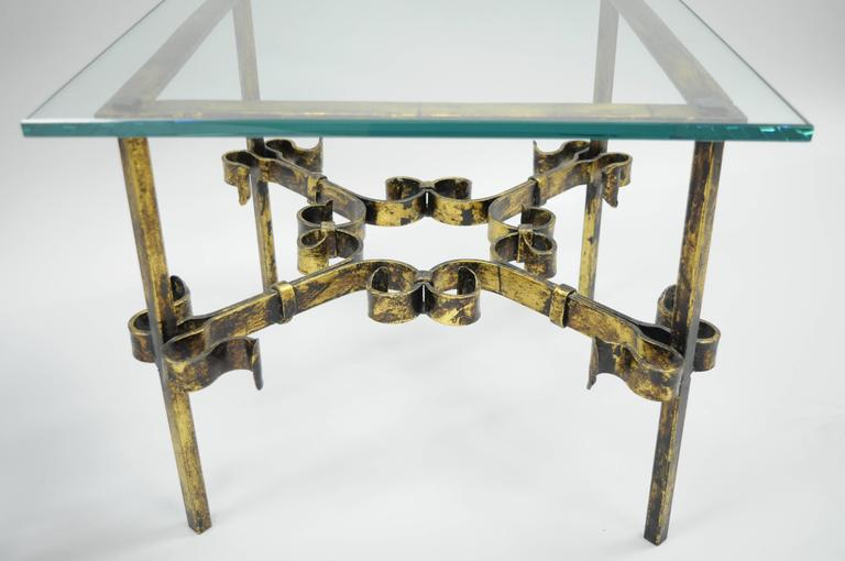 Pair Of Scrolling Gilded Iron Square Glass Top Gold Brutalist Low End Tables  3