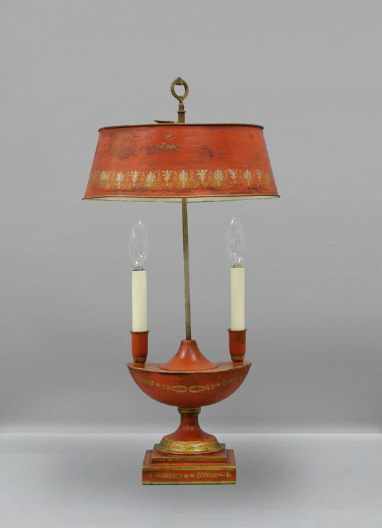 antique french empire style orange bouillotte desk table lamp tole