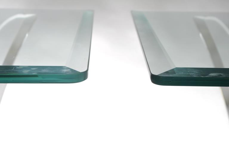 Pair of Lucite Butterfly Wing Glass End Table Hollywood Regency, Lion in Frost For Sale 2