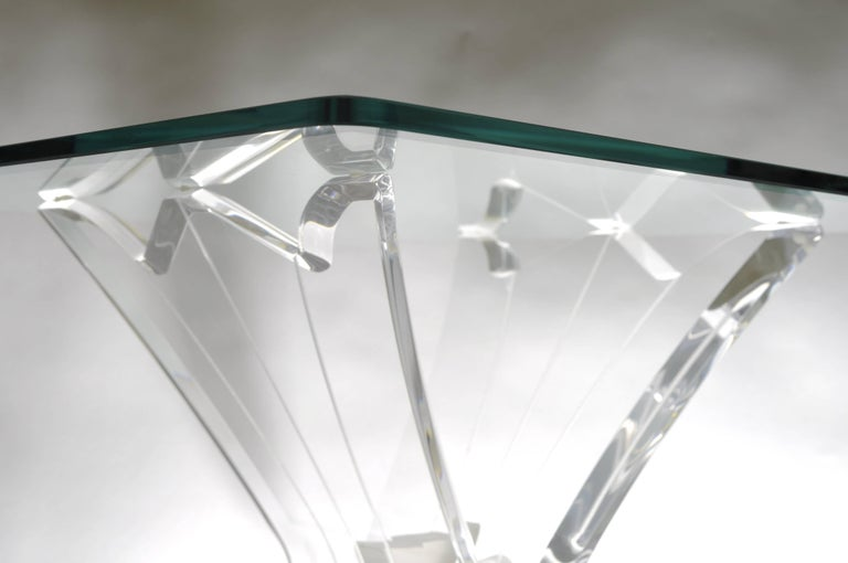 Pair of vintage clear Lucite butterfly form end / side tables in the manner of