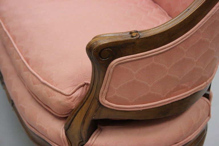 Small French Country Louis XV Style Carved Walnut Pink Settee Loveseat Sofa 2