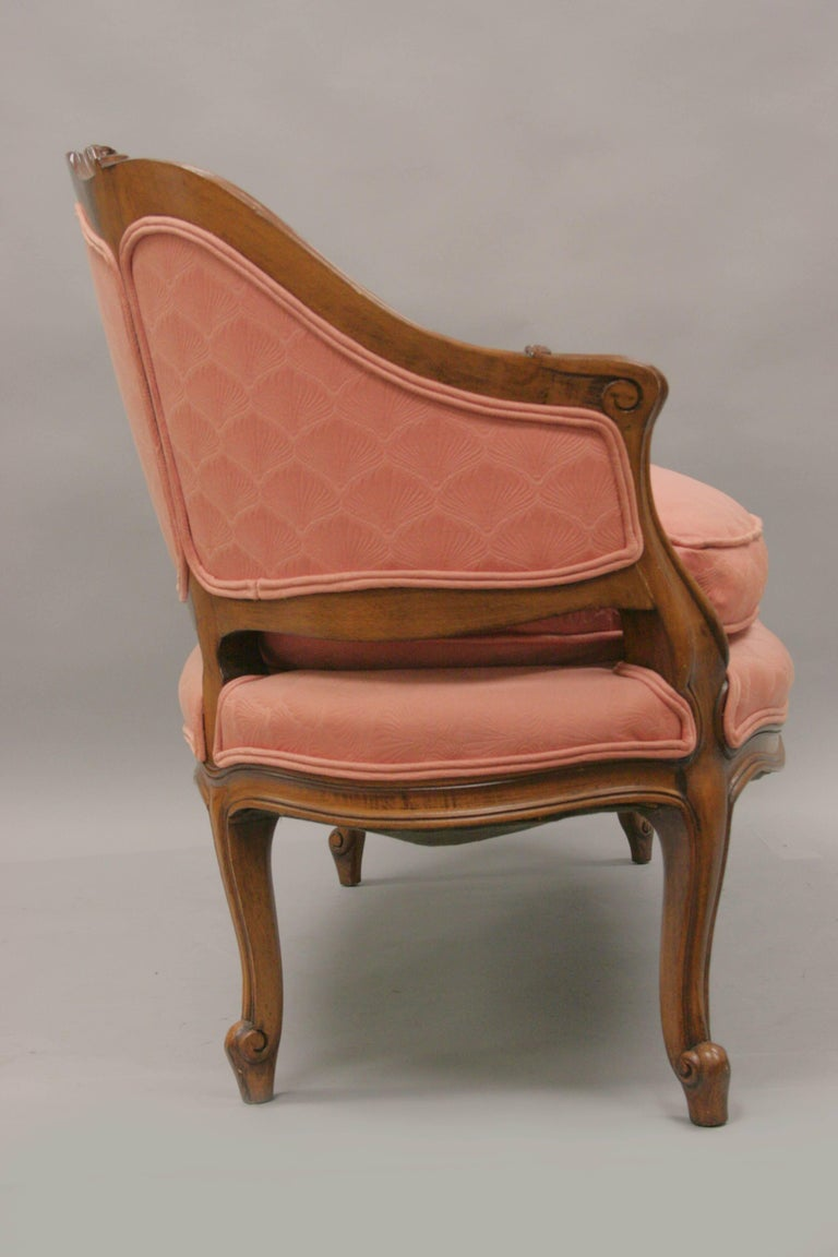Small French Country Louis XV Style Carved Walnut Pink Settee Loveseat Sofa 3