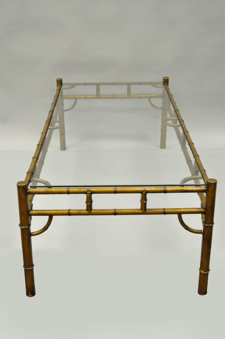 Gold metal glass faux bamboo chinese chippendale style rectangular coffee table for sale at 1stdibs Gold metal coffee table