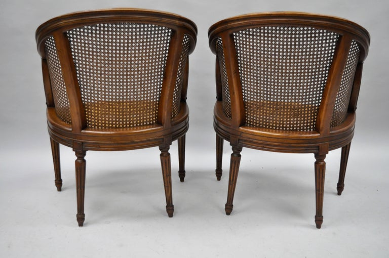 Pair of French Louis XVI Style Walnut and Cane Barrel Back ...