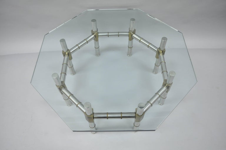 Mid-Century Modern Chrome and Brass Faux Bamboo Glass Top Octagonal Coffee Table In Good Condition For Sale In Philadelphia, PA