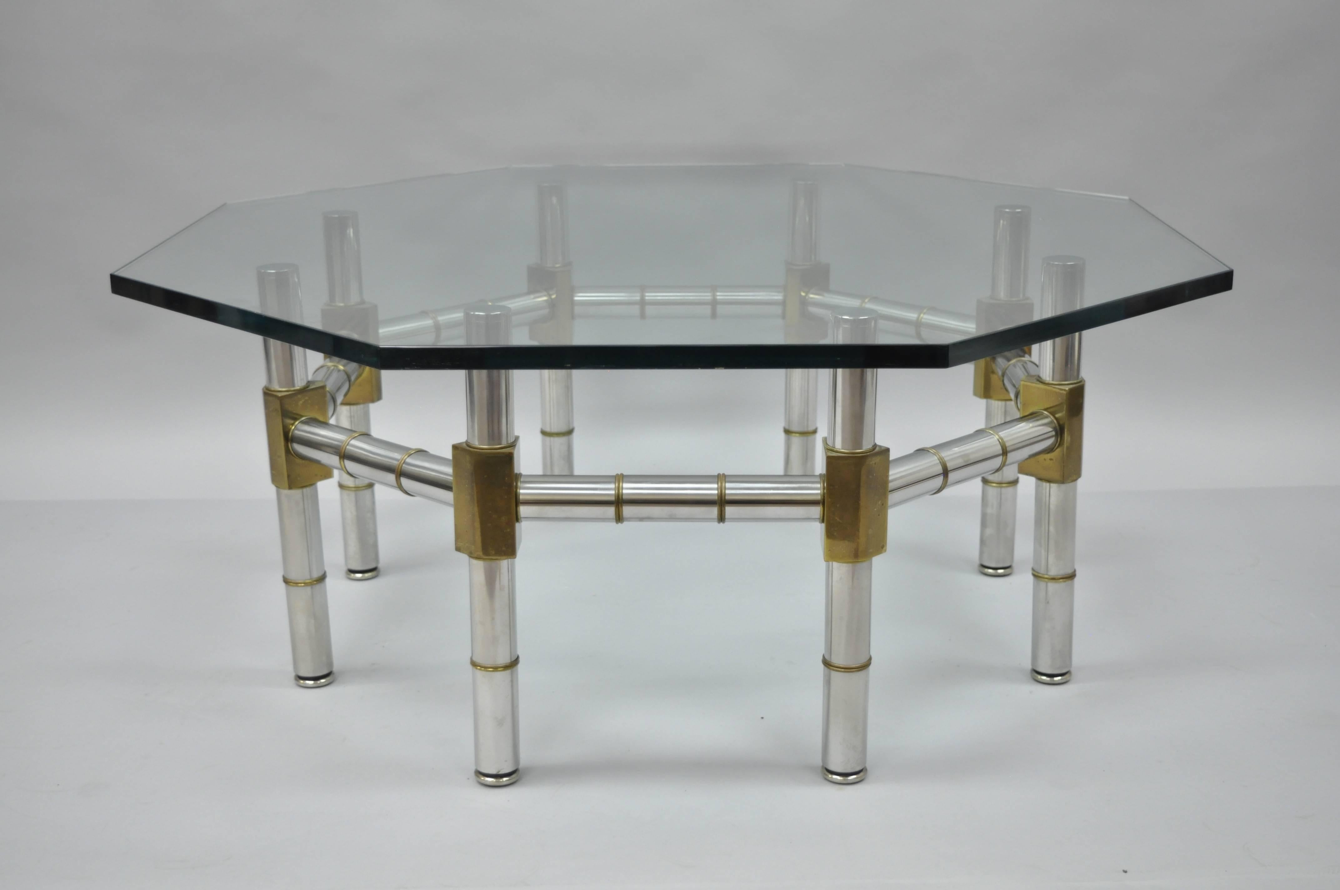 Mid Century Modern Chrome And Brass Faux Bamboo Glass Top Octagonal Coffee  Table
