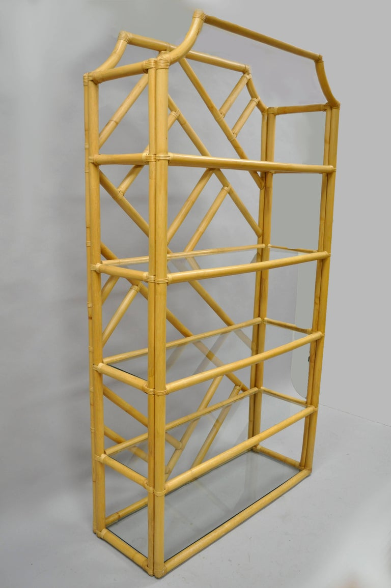 Pair of Tiki Hollywood Regency Bamboo Rattan Etagere Faux Bamboo Bookcase Shelf For Sale 3
