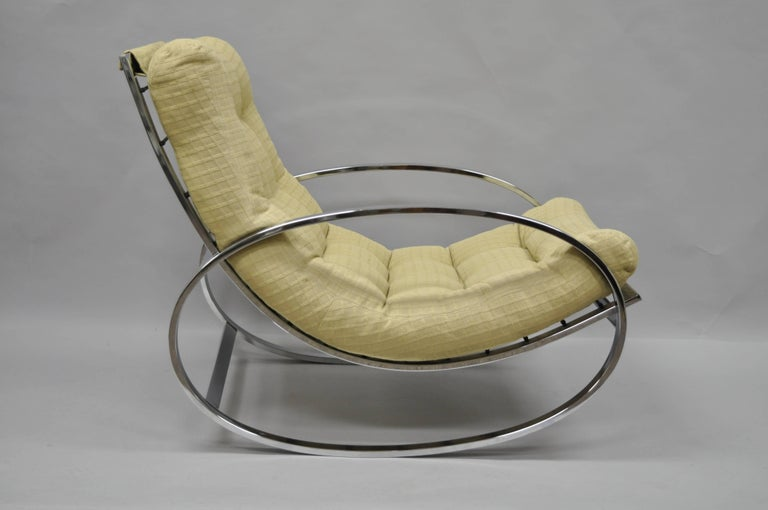 Mid Century Modern Renato Zevi Selig Ellipse Milo Baughman Chrome Rocking Chair For Sale 1