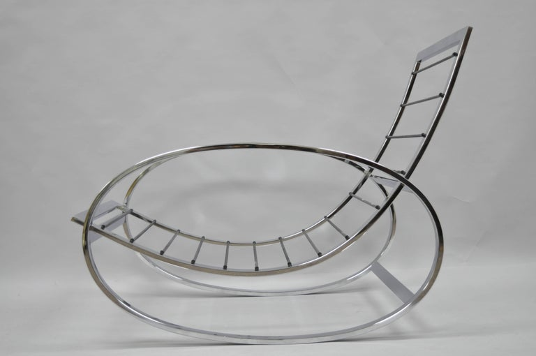 Mid Century Modern Renato Zevi Selig Ellipse Milo Baughman Chrome Rocking Chair For Sale 2