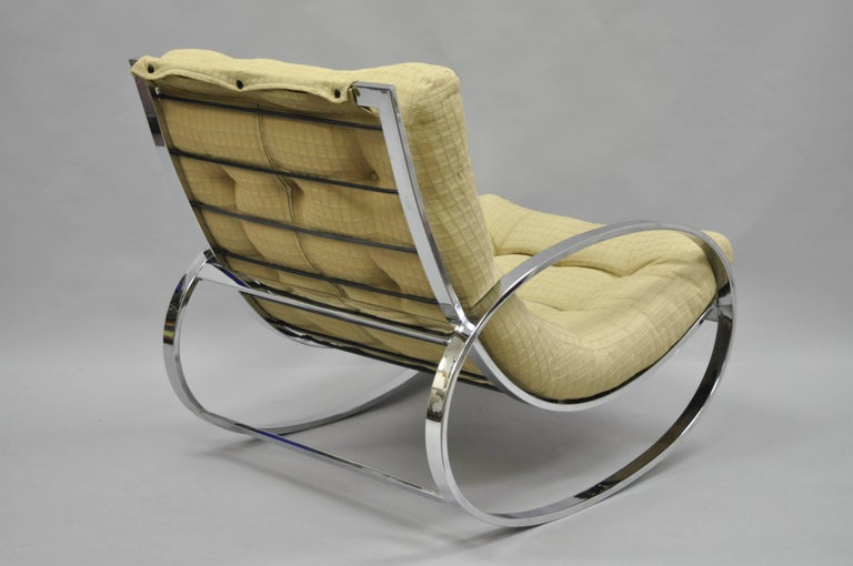 Mid-Century Modern Mid Century Modern Renato Zevi Selig Ellipse Milo Baughman Chrome Rocking Chair For Sale