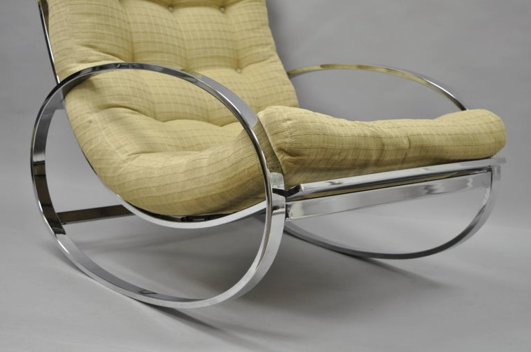 Polished Mid Century Modern Renato Zevi Selig Ellipse Milo Baughman Chrome Rocking Chair For Sale