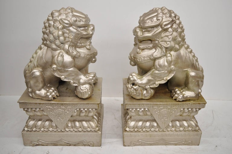 Large Pair Of Cast Iron Foo Dog Guardian Lion Statue