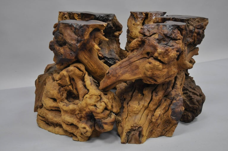 American Burl Wood Free Form Driftwood Tree Branch Wood Coffee Table Base Naturalist For Sale