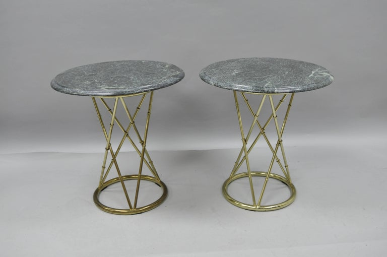 Pair of Brass Metal Faux Bamboo Round Green Marble-Top Lamp Side Tables For Sale 2