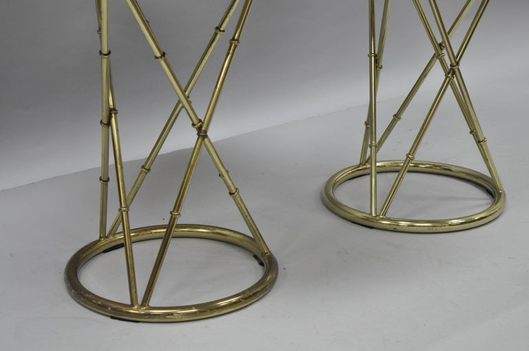 Unknown Pair of Brass Metal Faux Bamboo Round Green Marble-Top Lamp Side Tables For Sale