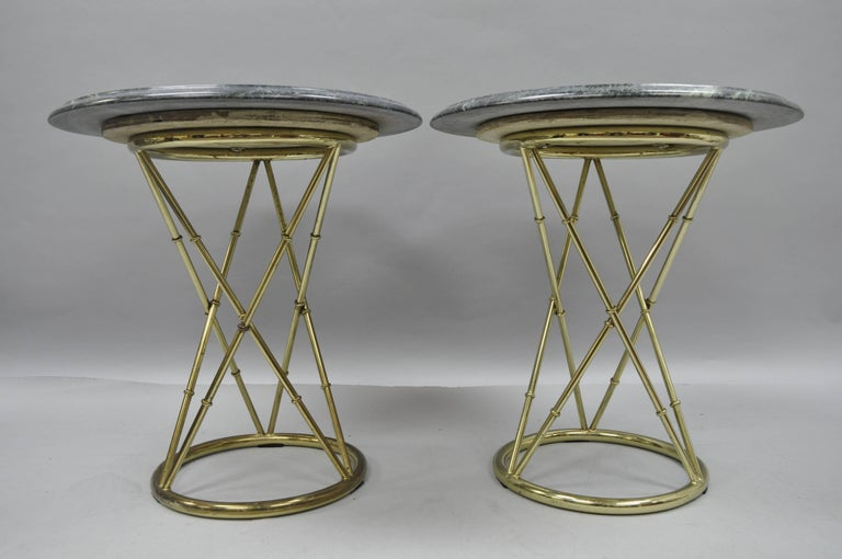 Late 20th Century Pair of Brass Metal Faux Bamboo Round Green Marble-Top Lamp Side Tables For Sale