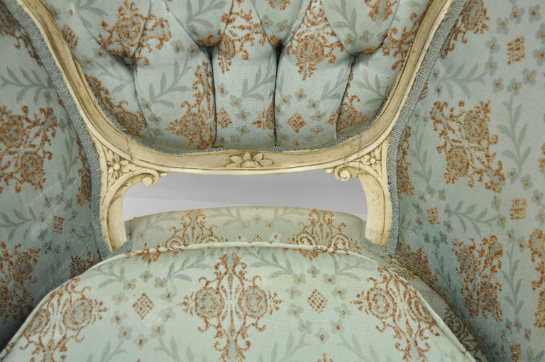 French Louis XV Provincial Style Bergere Chair Wingback Armchair Cream Painted In Good Condition For Sale In Philadelphia, PA