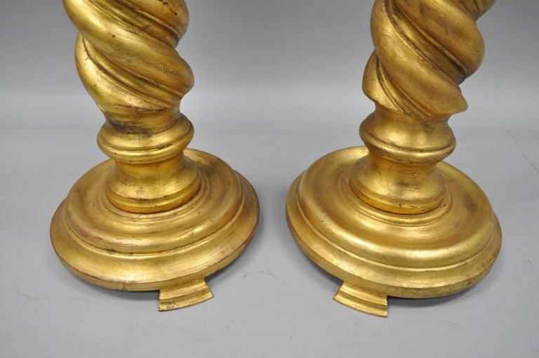Italian Gold Leaf Spiral Carved Column Pedestal Stands