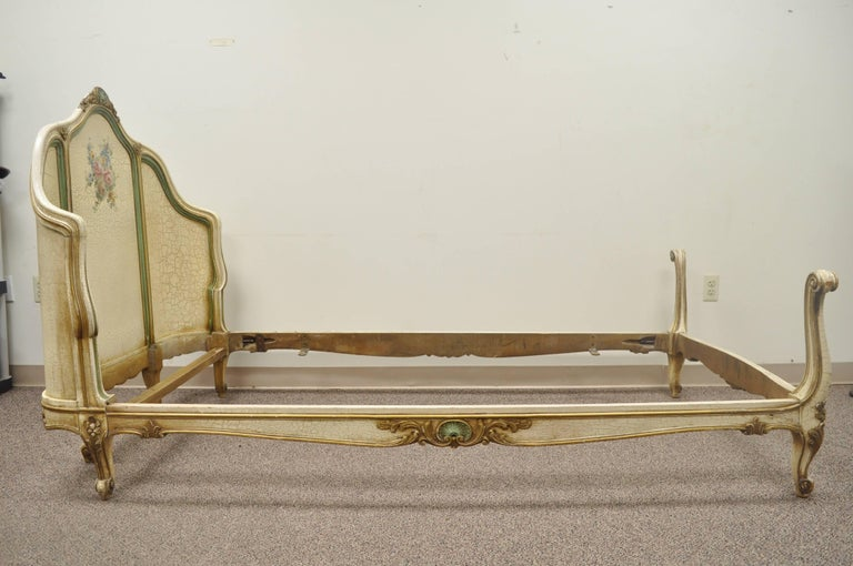 French Louis XV Style Twin Bed Frame Green And Cream Distress Painted Finish For Sale 5