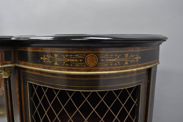 French Napoleon III Ebonized Brass Inlay Louis XVI Style Sideboard Cabinet For Sale 4