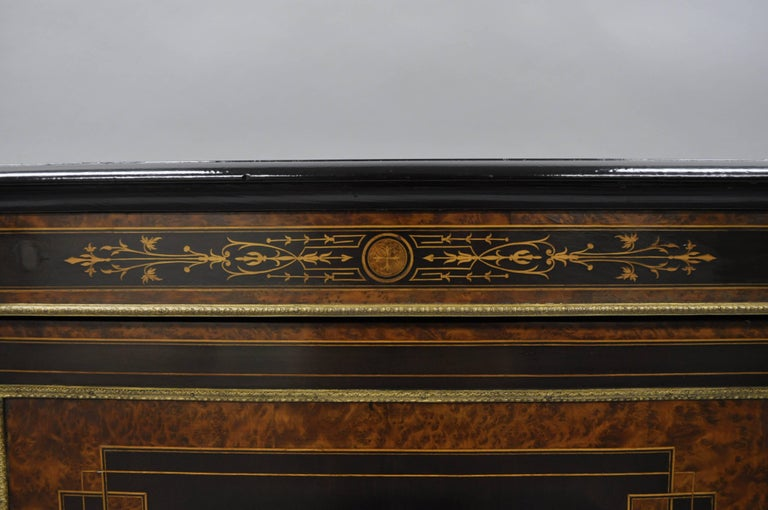 19th Century French Napoleon III Ebonized Brass Inlay Louis XVI Style Sideboard Cabinet For Sale