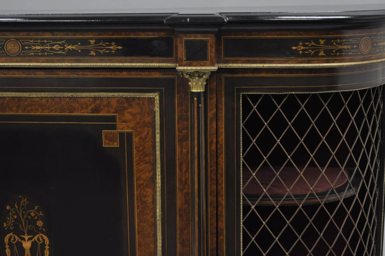 French Napoleon III Ebonized Brass Inlay Louis XVI Style Sideboard Cabinet For Sale 5