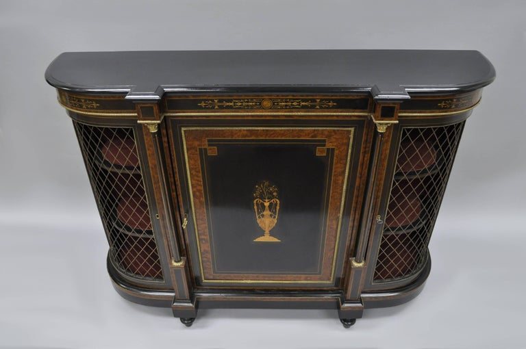 French Napoleon III Ebonized Brass Inlay Louis XVI Style Sideboard Cabinet For Sale 6