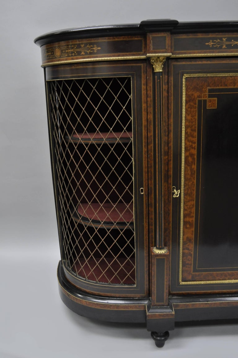 French Napoleon III Ebonized Brass Inlay Louis XVI Style Sideboard Cabinet For Sale 1