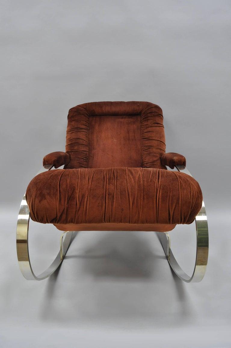 Mid-Century Modern Mid Century Modern Guido Faleschini Chrome & Brass Rocking Chair For Sale