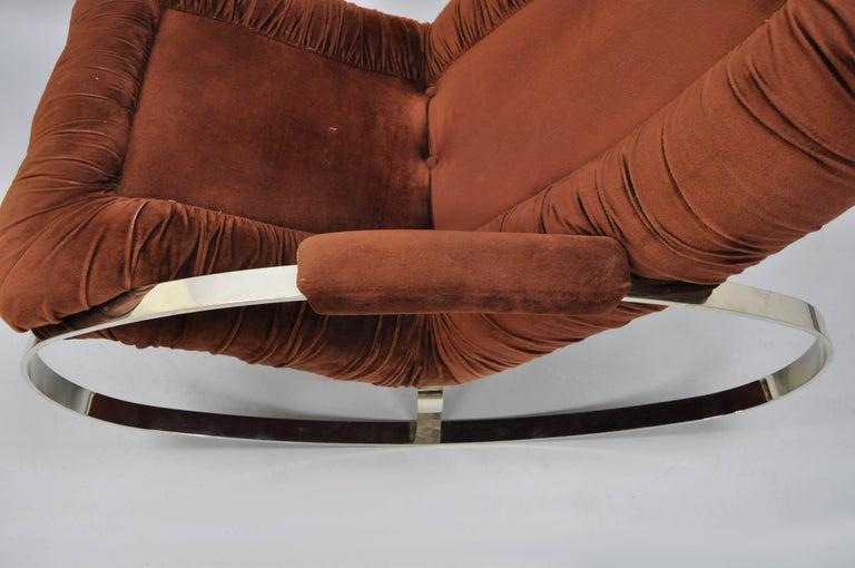 Steel Mid Century Modern Guido Faleschini Chrome & Brass Rocking Chair For Sale