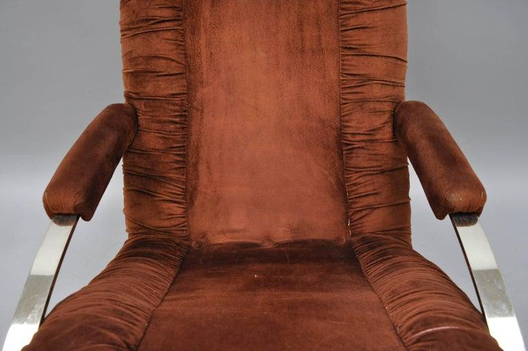 Italian Mid Century Modern Guido Faleschini Chrome & Brass Rocking Chair For Sale