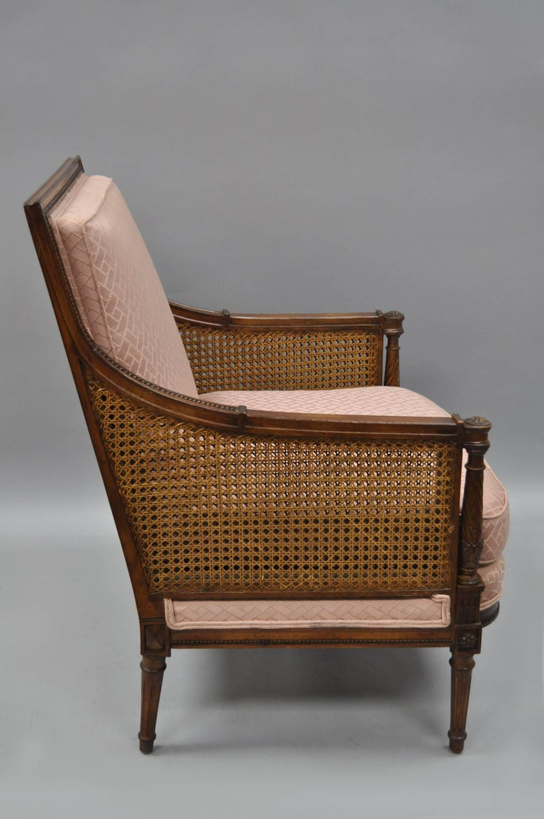 French Louis XVI Directoire Style Cane Bergere Armchair Carved Walnut Frame In Excellent Condition For Sale In Philadelphia, PA