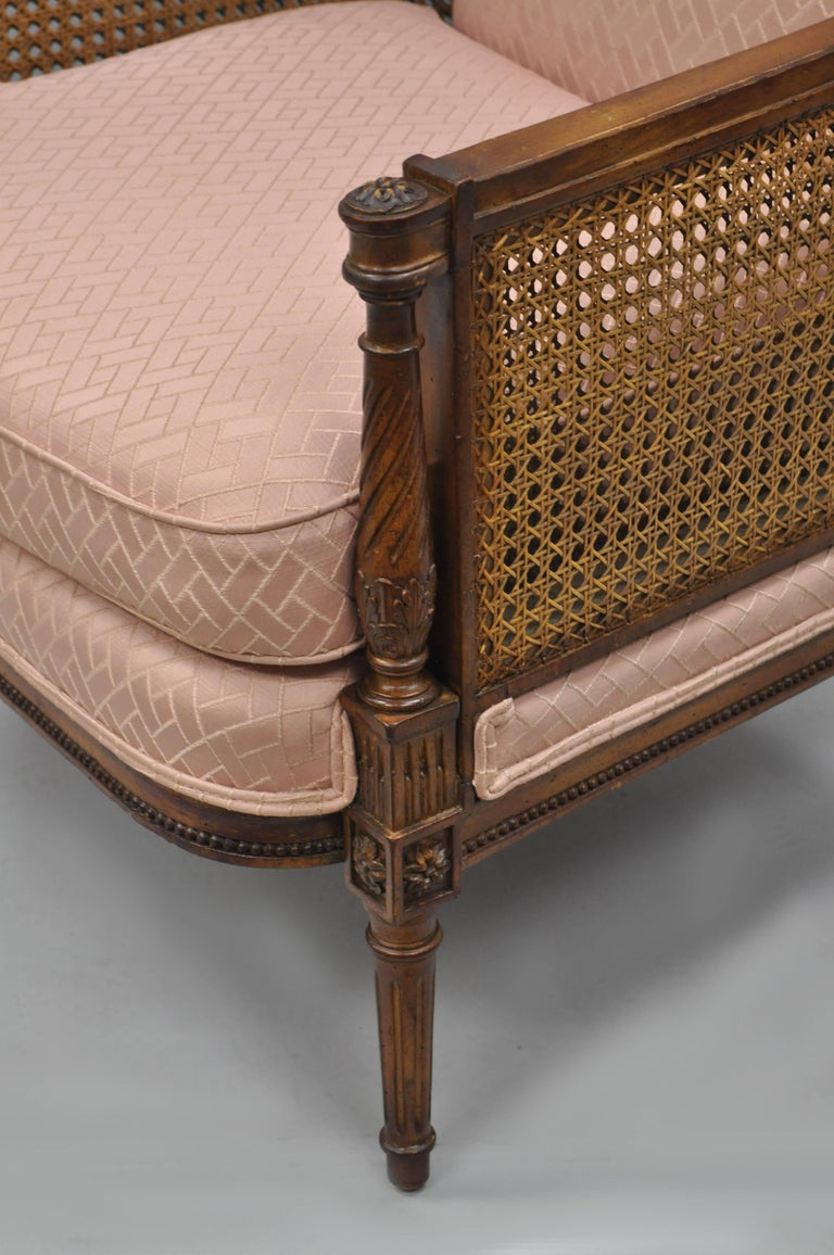 French Louis XVI Directoire Style Cane Bergere Armchair Carved Walnut Frame For Sale 1