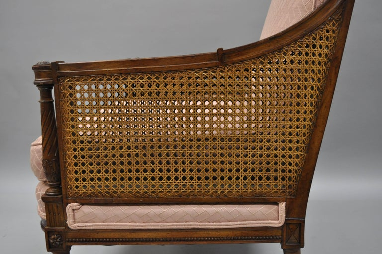 20th Century French Louis XVI Directoire Style Cane Bergere Armchair Carved Walnut Frame For Sale