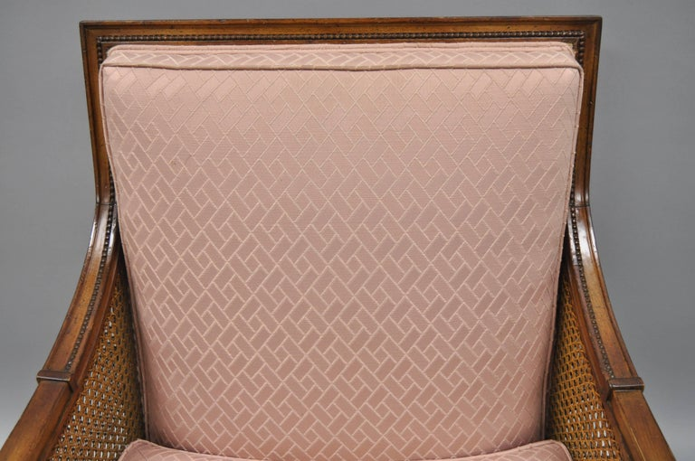 French Louis XVI Directoire Style Cane Bergere Armchair Carved Walnut Frame For Sale 2