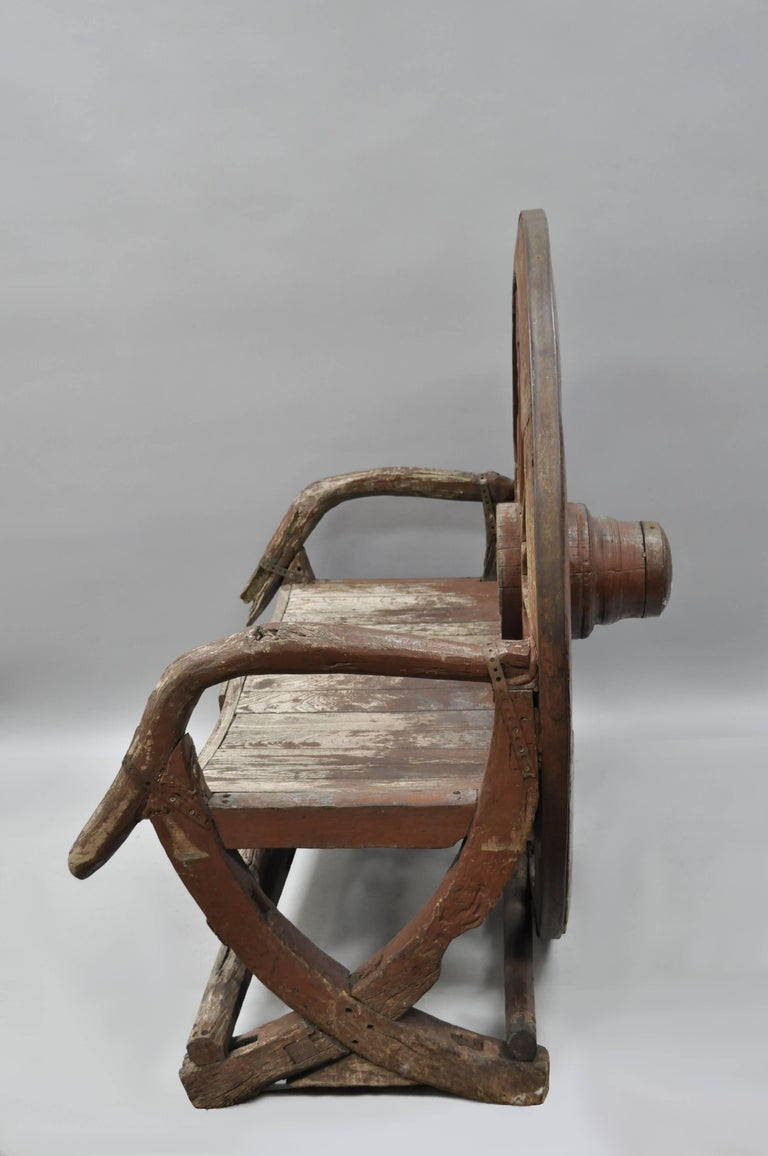 19th Century Antique Primitive Conestoga Wagon Wheel Red Bench Large Rustic Wooden Seat For Sale