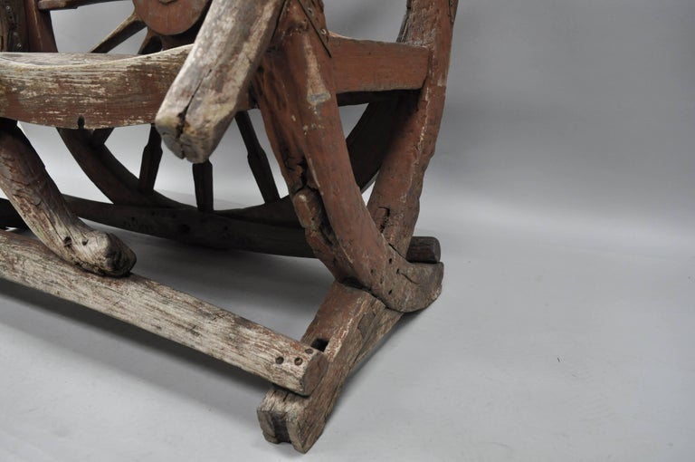 Antique Primitive Conestoga Wagon Wheel Red Bench Large Rustic Wooden Seat For Sale 3