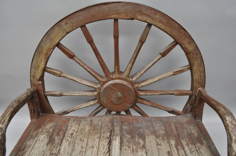Antique Primitive Conestoga Wagon Wheel Red Bench Large Rustic Wooden Seat In Good Condition For Sale In Philadelphia, PA