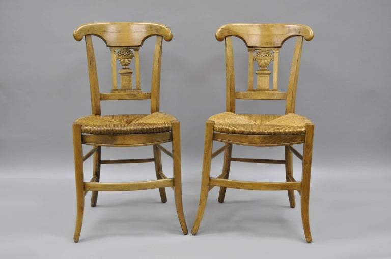Cherrywood Primitive Country French Dining Chairs Woven ...