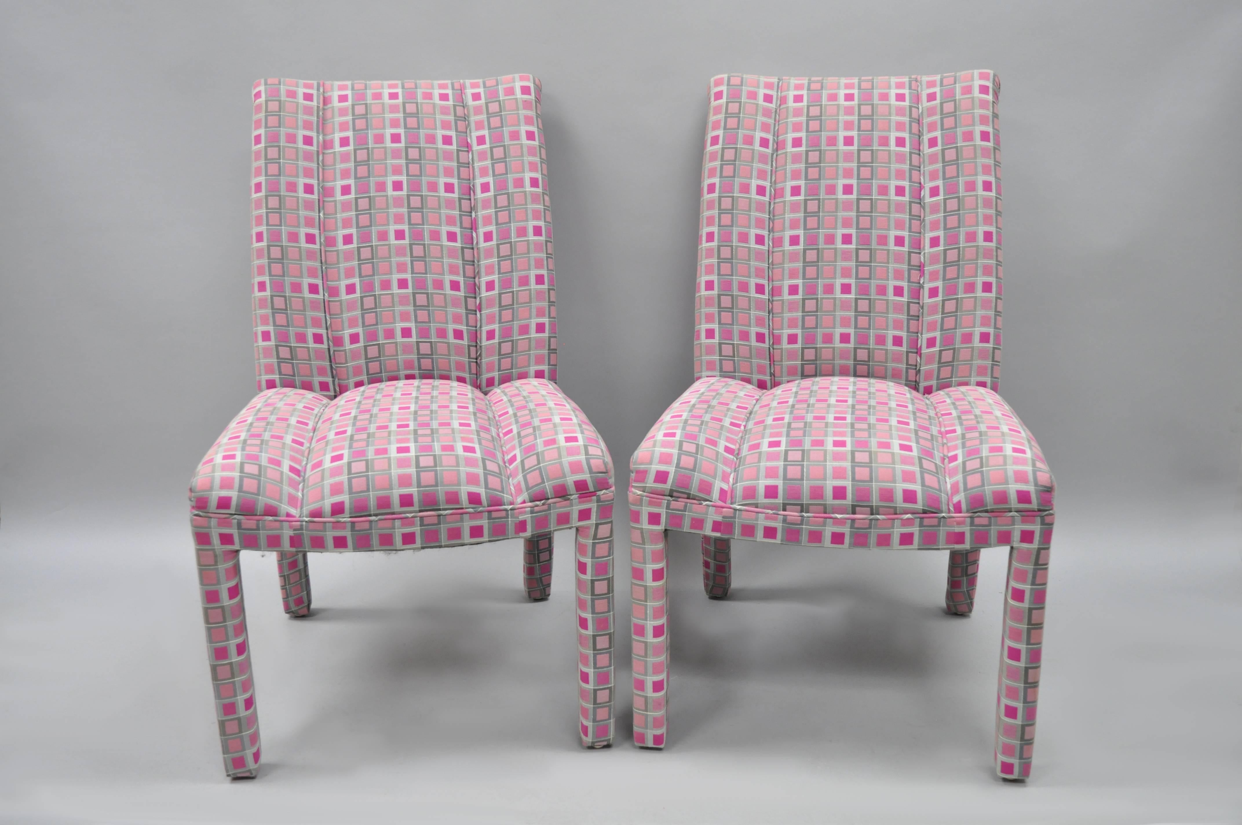 Delicieux Set Of Six Pink And Sliver Fully Upholstered Parsons Style Dining Chairs In  The Hollywood Regency